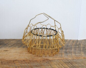 Vintage Collapsible Wire Beaded Egg Basket Gold Plated Made in France