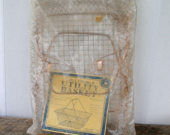 Vintage Wire Mesh Collapsible Take Along Storage Utility Basket with Handles By Himark