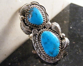 Vintage Native American Signed Turquoise Ring in Sterling Silver by L S Benally..... Lot 4798