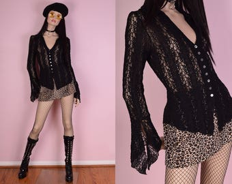 90s Black Stretchy Lace Bell Sleeve Top/ Medium/ 1990s/ Long Sleeve/ Button Down