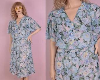 90s Floral Print Dress/ US 12/ 1990s