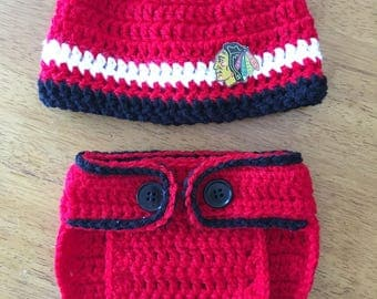 Crocheted Chicago Blackhawks Hat and Diaper Cover Set