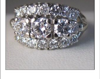 Antique 14k 1.6 cttw Diamond Wedding Band with Fine VS diamonds