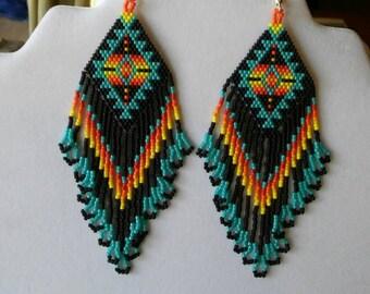 Native American Style Beaded Turquoise Blanket Earrings in Southwestern, Boho, Brick Stitch, Loom, Gypsy, Peyote Handmade Tribal Great Gift