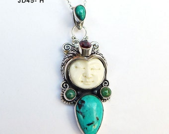 Blue Turquoise Bali Goddess Face Sterling Silver Pendant JD45H