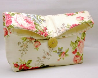 Foldover clutch, Fold over bag, clutch purse, evening clutch, wedding purse, bridesmaid gifts - Pink roses (Ref. FC78)