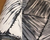 Striking Vintage Full Roll Midcentury Japanese Kimono Silk - Black & White Abstract Expressionist Pattern.