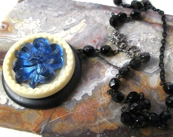 LONG LAYERING Vintage Black Faceted Rosary Chain and Vintage Button Necklace Jewelry: Black and Blue Glass Bow Bouquet