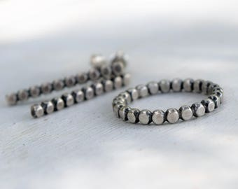Sterling Silver Hammered Ball Bead Ring and Earrings - Oxidized Silver - Gift For Her -Geometric - Metalwork