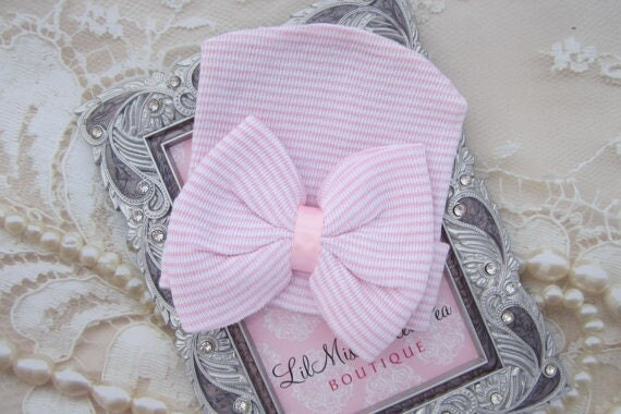 Newborn Hospital Hat, pink and white stripes with matching fabric bow, infant hat, hat bow, ready to ship, from Lil Miss Sweet Pea Boutique