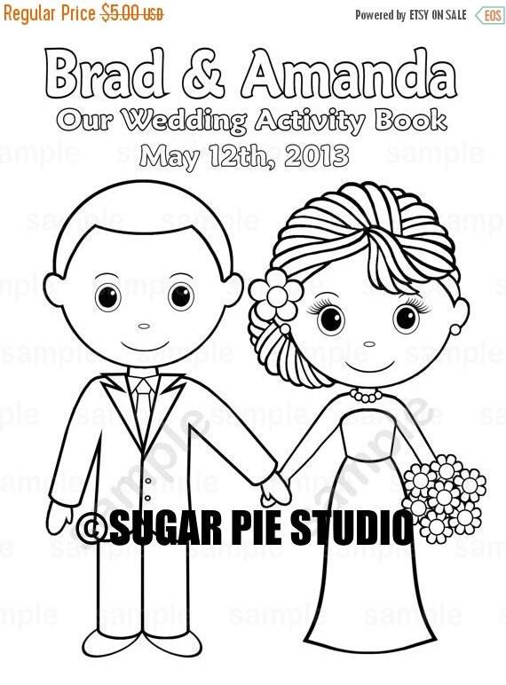 ON SALE Printable Personalized Wedding Coloring By SugarPieStudio