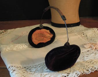 Antique Victorian Edwardian Children's Ear Muffs / Antique Black Velvet Ear Muffs Kleinert New York