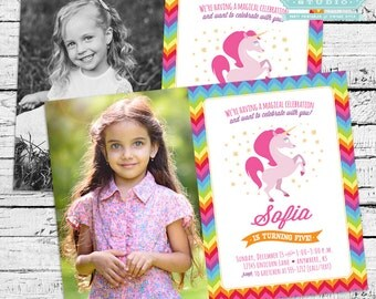 Magical Unicorn Party Decor - Printable photo invitation and more!