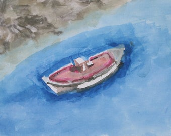 Watercolor painting of a Traditional Greek Fishing Boat