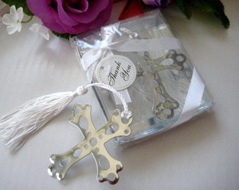 12 Cross Bookmark Favors White Tassel with Gift Box, Christening, Baptism, Silver-Metal Bookmark with White Silk Tassel