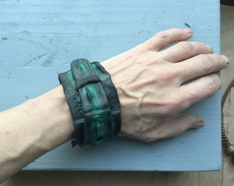 Crocodile Leather Cuff Bracelet