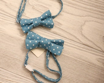 Boys  teal dot bow tie made for newborn to age 12.
