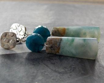 Green Mountain Jade Sterling Silver Artisan Post Earrings, Kyanite Accent, Statement Earrings, Organic Earrings, Gemstone Earrings, Rustic