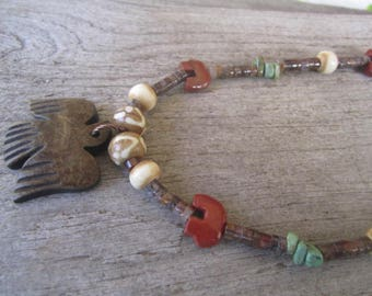 native design stone and shell necklace, carved thunderbird pendant, stone zuni bears