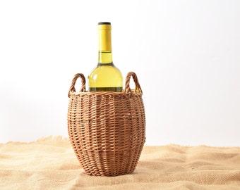 Vintage Basket, Handmade Reed Basket Great for Wine Bottle, Utensils or Storage