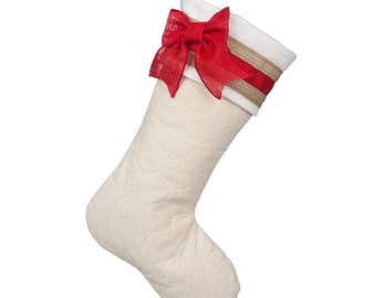 Quilted Christmas Stocking with Red Cuff Accents - D