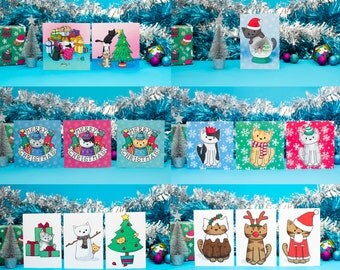 6 Banner Cats  Christmas Cards