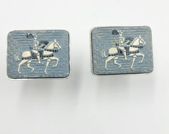 Knight on Horseback Cufflinks Medieval Knight Blue Cuff Links Jousting Men's Jewelry