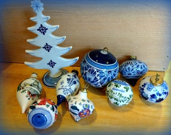 Lot White and Blue Delft Ornaments And Christmas Tree Handpainted Dutch Home Decor