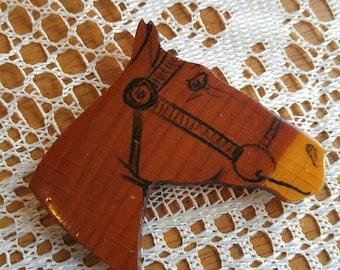 Vintage horse brooch wood handmade pony pin carved artisan broach