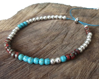 Skinny silver bead bracelet with turquoise & red, size adjustable Irish waxed linen cord, native American inspired colours, stacking single