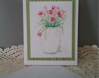 Greeting Card Watercolor Roses in White Vase All Occasion Blank card