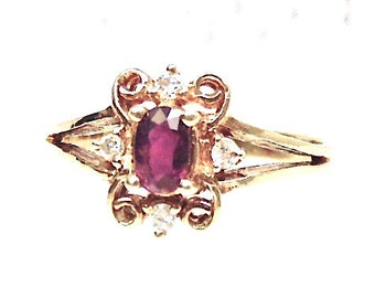 14K Garnet and Diamond Ring, Vintage, Yellow Gold, January Birthstone