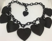 Plastic Black Chunky Heart Necklace // Wear as is, Repurpose