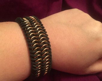 Stretch Bronze & Rubber Cuff Chainmaille Bracelet