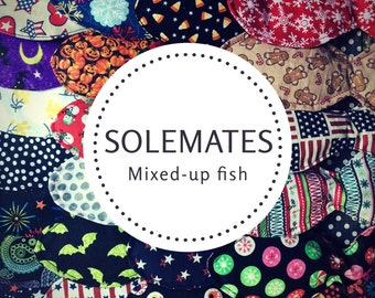 Solemates Mystery Cat Toy! Mixed up patterns - Lucky Dip! Random colorway fish-shaped cat toy. (Organic Catnip)