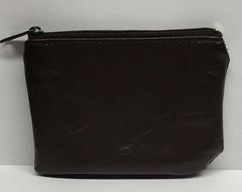 Vintage Change Purse Brown Leather zipped