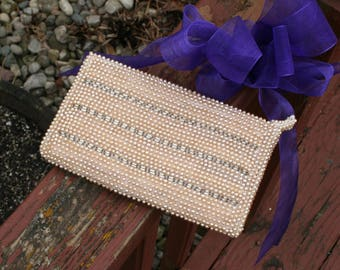 Vintage Purse Clutch Pearls Beads 1950s