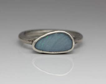 Opal Ring, Opal & Sterling Ring, Freeform Stone, Pale Blue, Boho Ring, October Birthstone, Size 8
