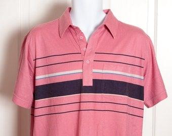 Vintage 80s Men's Polo Shirt - pink black - PAR FOUR - pink black