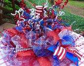 PATRIOTIC CENTERPIECE with SPARKLE, Memorial Day centerpiece, July Fourth Centerpiece, Patriotic Table Decor, Patriotic Party Decoration