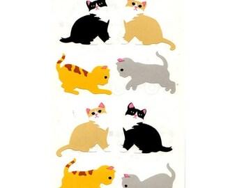 SALE Vintage Mrs Grossman Two Squares of Kitten Stickers - 80's Cat Kitty Feline Tabby Tuxedo