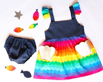 Baby Girl rainbow Mermaid Summer Dress set