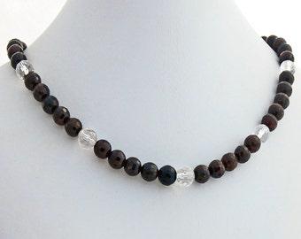 Garnet Rock Crystal Natural Stone Necklace