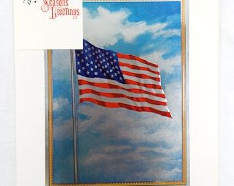 Vintage 1970's Old Glory American U.S. Flag Foil Etch Print