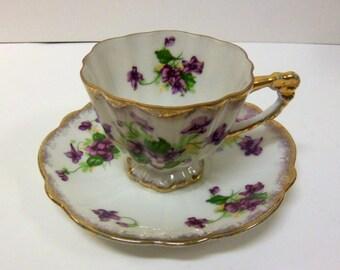 Purple Violets Cup & Saucer set
