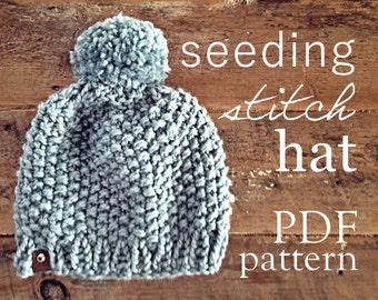 The Seeding Stitch Hat PDF Knitting Pattern (adult)