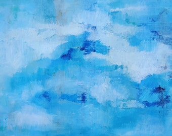 Abstract seascape painting oil on canvas blue light blue dark blue bright colours original contemporary emotional art