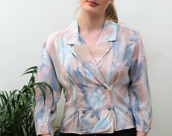1980s Pastel Watercolour Print Double Breasted Blouse Size UK 10, US 6, EU 38