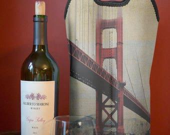 Wine Bag BYOB | Golden Gate Bridge San Francisco | Two Bottle Neoprene Wine Carrier Tote |  Bar Accessory | Hostess Gift | Custom Available