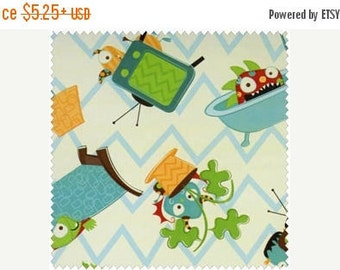 SALE SALE SALE Monsters on Cream Chevron from Camelot Cottons